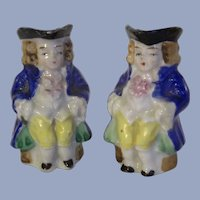 """A Pair of 2-1/4"""" Vintage Miniature Ceramic Toby Characters Pitchers Made in Occupied Japan"""