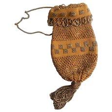 Antique Art Deco Tan Crochet Steel Bead Silver Drawstring Loops Purse