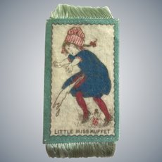 Comical Antique Miss Muffet Dollhouse Rug c1910