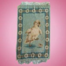 Darling Baby Duck Dollhouse Rug c1910