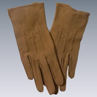Beautiful but Not Perfect Tan Kid Leather Gloves for French Fashion Doll