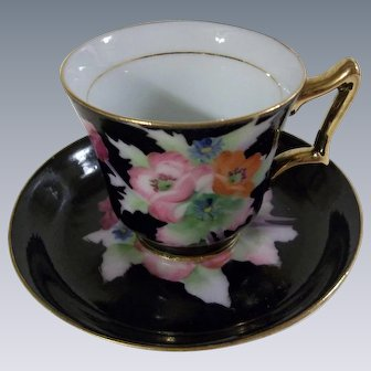 Stunning Deep Cobalt Blue Cup and Saucer Made in Japan marked FWW