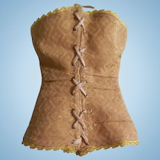 Gorgeous Antique Gold Brocade Doll Corset for French Fashion Doll