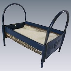 Sweet Antique German Marklin Metal Dollhouse Bed with Cherub