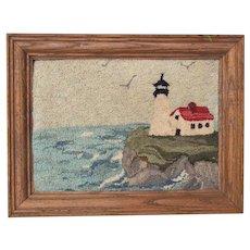 Vintage Framed Hand Hooked Lighthouse Scene