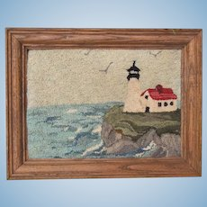 Vintage Framed Hand Hooked Lighthouse Scene