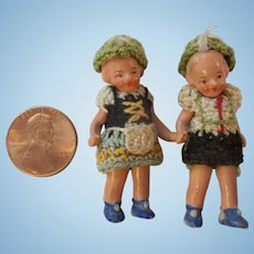 Teeny Tiny Pair of Antique German Hertwig Painted Bisque Miniature Dolls