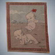 Adorable Faded but Cute Antique Dollhouse Rug - Kewpies Playing Leapfrog