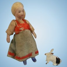 "Sweet Antique SFBJ 2-1/2"" French Lilliputian Girl with Metal Bunny Rabbit"