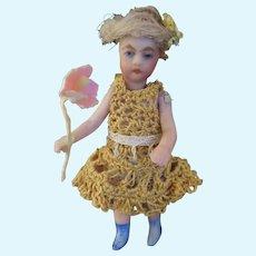 Beautiful French SFBJ Lilliputian Blond Girl  holding Flower