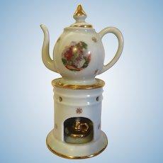 Classic French veilleuse théière - Miniature Vintage Limoge Teapot and Nightlight Set