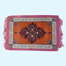Lovely Orange and Pink Antique Oriental Dollhouse Rug c1900