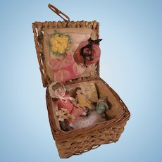 Wonderful Antique Presentation Box with 2 All Bisque Dolls and other Goodies