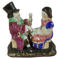 Porcelain Conta & Boehme,  Fairing Match Striker Lid - Man with his Daughter holding a Doll