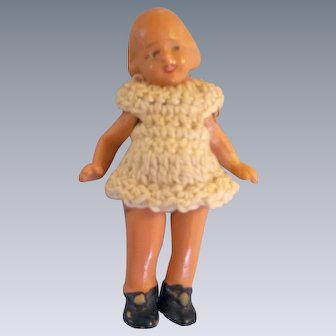 "Darling 2"" Hertwig Miniature Painted All Bisque Doll with Crocheted Dress"