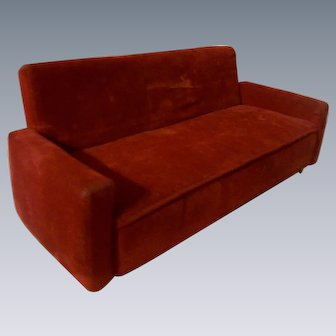 Sturdy Red Velvet Couch
