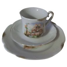 Lovely Antique 3 Piece Child's Cherry Blossom Tea Cup set with Flower Girls