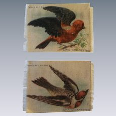 Two Lovely Antique Tobacco Silk Birds for Dollhouse