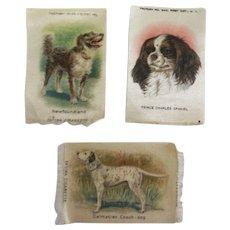3 Tobacco Silk Dogs *** Newfoundland ***  Prince Charles Spaniel ***Dalmation Coach Dog