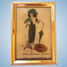 Lovely Framed Antique Tobacco Silk - Miss Victoria Louise - for Dollhouse