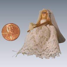 "Tiny 1-3/4"" Vintage Wooden Bride Doll"