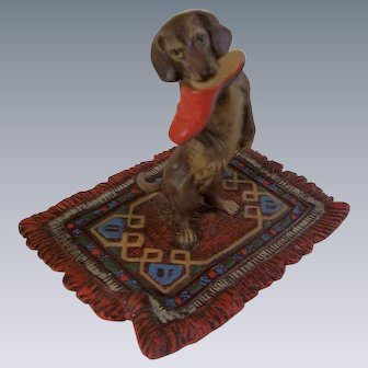 Fabulous Vintage Austrian Cold Painted Vienna Bronz - Dachshund with Red Slipper in his mouth