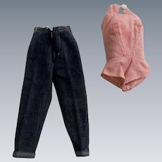 Vintage 1960s Barbie Cropped Blue Jeans and Red and White Striped Shirt