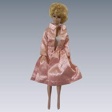 Vintage 1960s Barbie Pink Satin Coat with Glitter Dots and matching Sheath Skirt