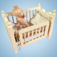 Vintage Wooden Crib with Sweet All Bisque Baby
