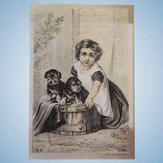 Wonderful Victorian Card - Girl with 2 Puppies in Wooden Barrel