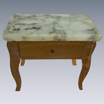 Vintage Large Scale Marble Top Night Stand with Drawer