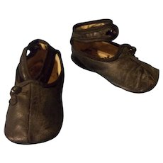 Wonderful Pair of Leather Antique Baby or Large Doll Shoes for Bisque Head Doll