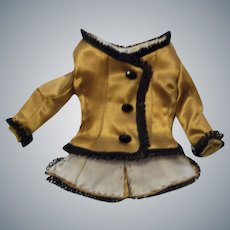 Fabulous Silk French Fashion Doll Lined Jacket with Antique Glass Cut Beads
