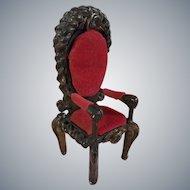 Wonderful Artisan Made Italian Style Heavily Carved Baroque Velvet Dollhouse Chair