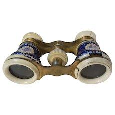 Pair of Antique French Jumeau Enamel Opera Glasses  (Race Binoculars/Field Glasses)