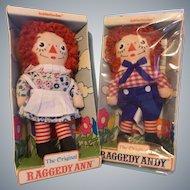"The Original 7"" Raggedy Ann and Andy - Vintage Cloth Dolls by Knickerbocker"