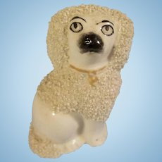 Delightful Staffordshire Porcelain Figurine Caniche / Poodle for your Small French Fashion or Other Favored Doll