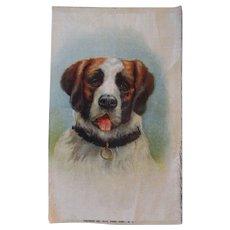 Lovely Large Vintage Tobacco Silk Saint Bernard Dog Dollhouse Rug