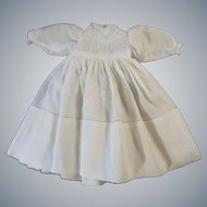 "Beautiful White Vintage  10"" Hand Made Doll Dress"