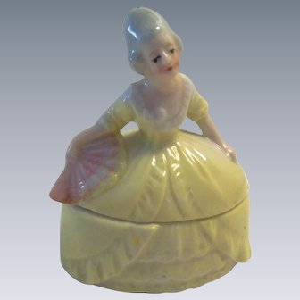 Lovely Vintage German Lady Porcelain Trinket Box for your Lucky Doll