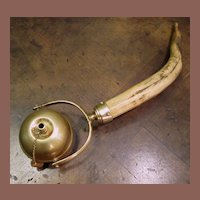 Antique Brass With Horn Handle Table Top Cigar Lighter, Circa 1910