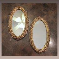 Pair Of Vintage Italian Florentine Mirrors, Circa 1950