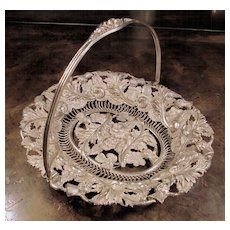 Silver Plate Thistle And Rose Decorative Pierced Basket, Circa 1920