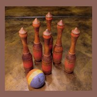 Six Wood Bowling Pins With Rubber Ball, Circa 1940