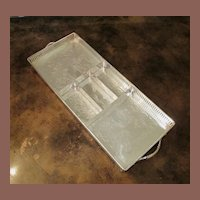 Vintage Silver Plate Rectangular Gallery Tray With Insert, Circa 1950
