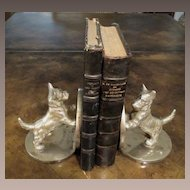 Vintage Chrome Coated Cast Iron Scotty Dog Bookends, Circa 1930