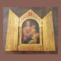 Vintage Florentine Religious Triptych