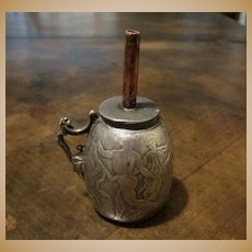 Antique Silver Plate Cigar Lighter With Ancient Greek Dancing Figures, Circa 1900