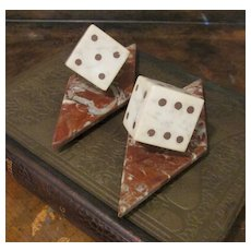 Vintage Carved And Inlaid Marble Dice Bookends, Circa 1960