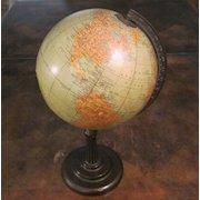 "Rand McNally 8"" Terrestrial World Globe On Iron Stand , Circa 1930"